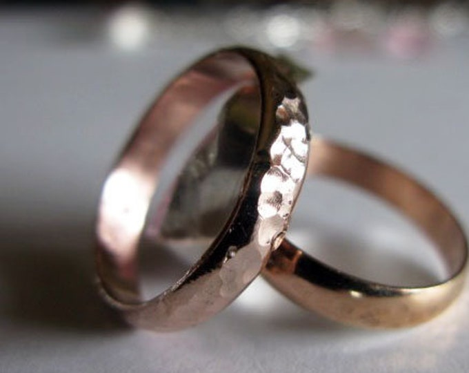 14K Rose Gold Mens Ring Hammered Finish