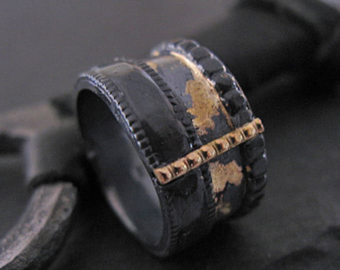 Viking Wedding Ring 13mm Oxidized Silver Yellow Gold
