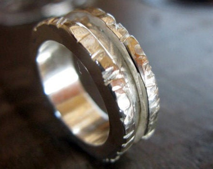 Heavy Rugged Silver Ring 8mm Sterling Silver Mens Wedding Band