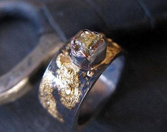 Scorched Earth Viking Ring Mens Wedding Band Yellow Diamond Black Ring Mens Wedding Ring Unique Viking Wedding Ring Mens Wedding Bands Rusti
