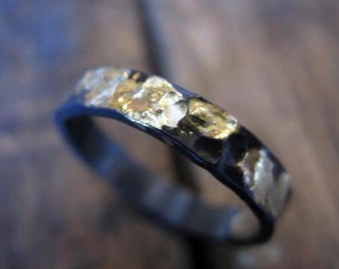 Hammered Gold and Black Ring 4mm Oxidized Sterling Silver 18K Yellow Gold Mens Wedding Band