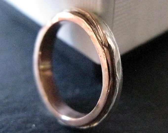 14K Rose Gold Ring 4mm Size 8 1/4 Mens Wedding Band