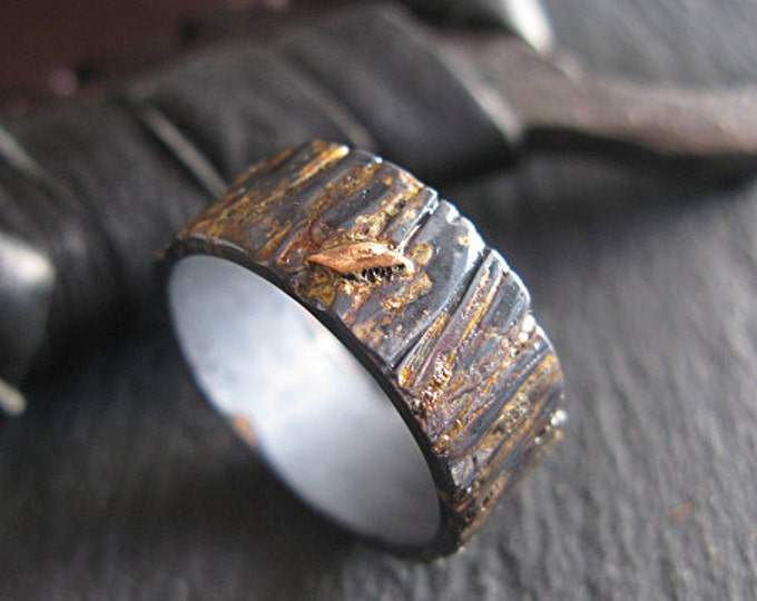 Rustic Bark Ring 8mm Oxidized Sterling Silver Rose Gold