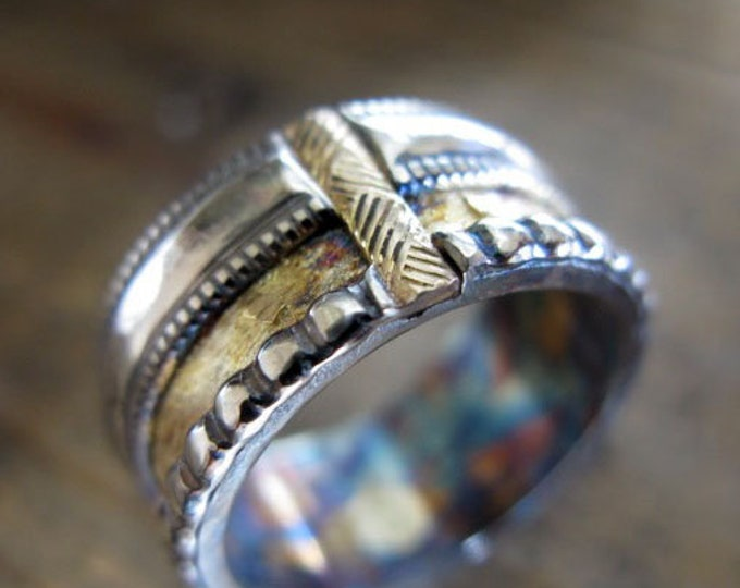Viking Wedding Ring 11mm Sterling Silver Fine Silver Yellow Gold