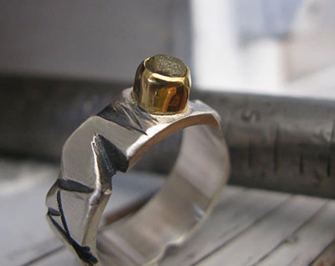 SALE Size 10-3/4 Mens Wedding Band 8mm Silver Gold Rough Diamond