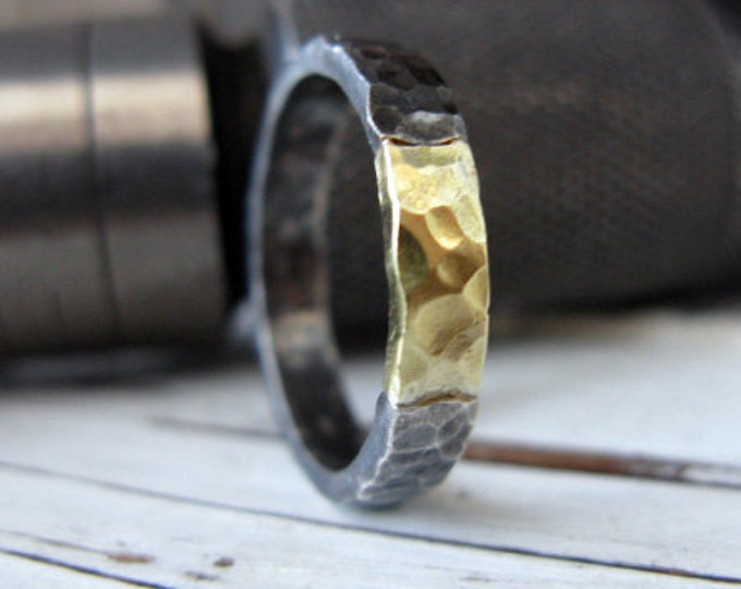 Black and Gold Hammered Ring 4mm Oxidized Sterling Silver 18K Green Gold