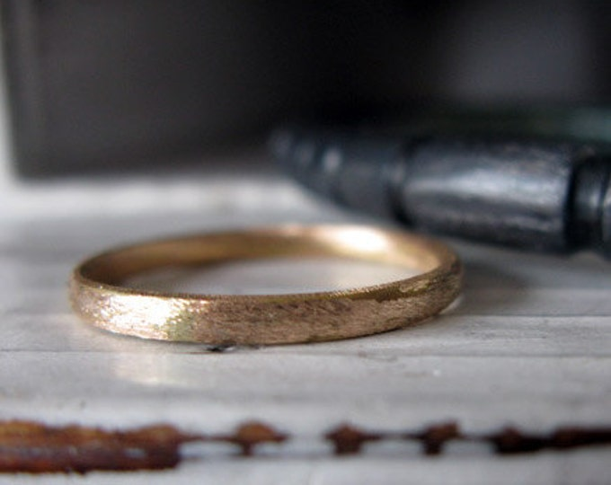 Solid Gold Ring 18K Rose Gold Custom Wedding Band 2.5mm Brushed Finish Domed Mens Ring