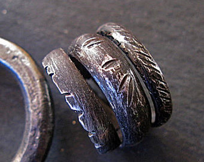 Wraparound Ring 13mm Oxidized Fine Silver Wedding Ring