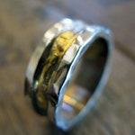Rimmed Wedding Band 8mm Sterling Silver 14K 18K Yellow Gold Rustic Mens Wedding Band Viking Wedding Ring
