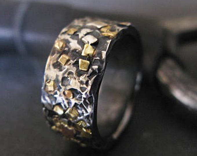 Mosaic Gold Ring 8mm Oxidized Sterling Silver Rose Gold Green Gold Yellow Gold