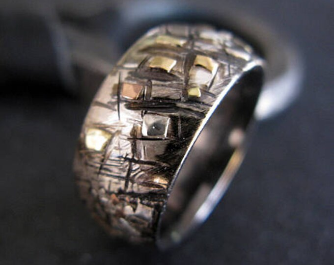 Domed Graffiti Ring 10mm Size 9 3/4 Sterling Silver and Gold
