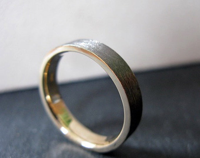 Brushed Gold Band 5mm 14K with Black Rhodium