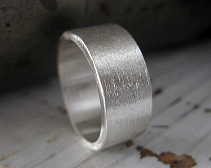 Brushed Sterling Silver 10mm Mens Wedding Band