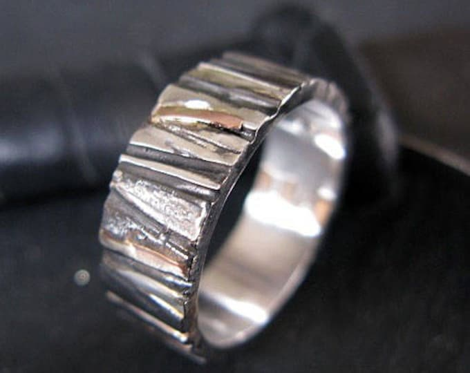 Mens Rustic Wedding Band 8mm Sterling Silver 14K Rose Gold Yellow Gold