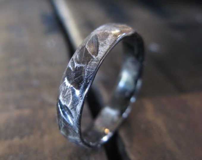Distressed Domed Ring 6mm Oxidized Sterling Silver Mens Wedding Band