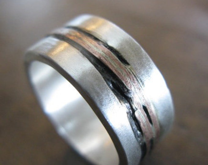 Wide Silver Ring with 14K Gold Inlay 10mm