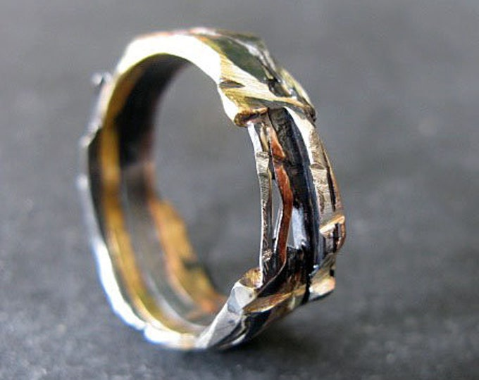 Unique Mens Wedding Band 5-9mm Colored Gold Fine Silver