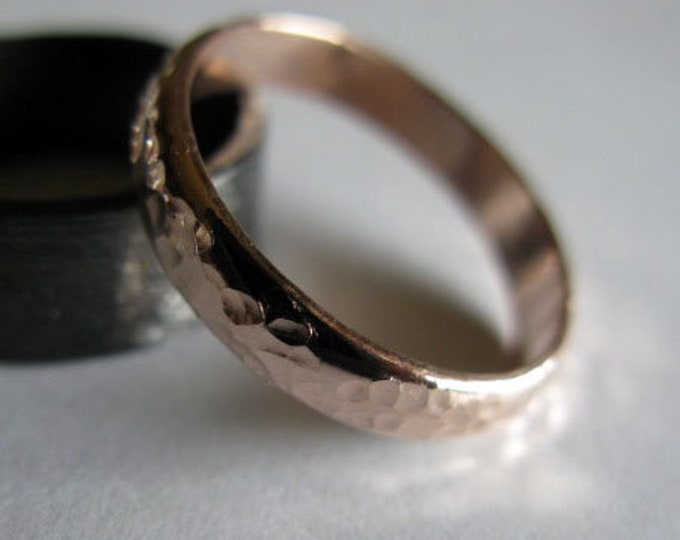 14K Rose Gold Wedding Band 4mm Hammered Finish