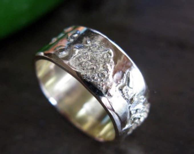 Mens Wedding Band 8mm 14K Gold