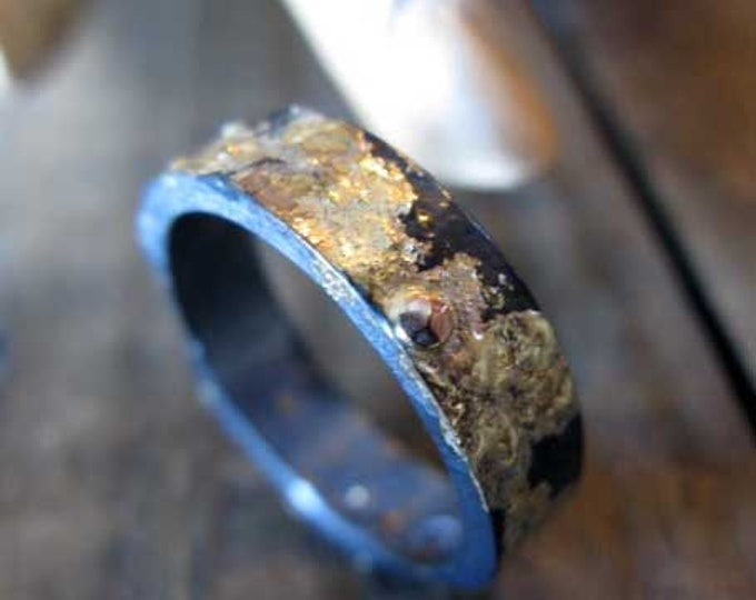Scorched Earth Ring 6mm Oxidized Sterling Silver Rose Gold Yellow Gold
