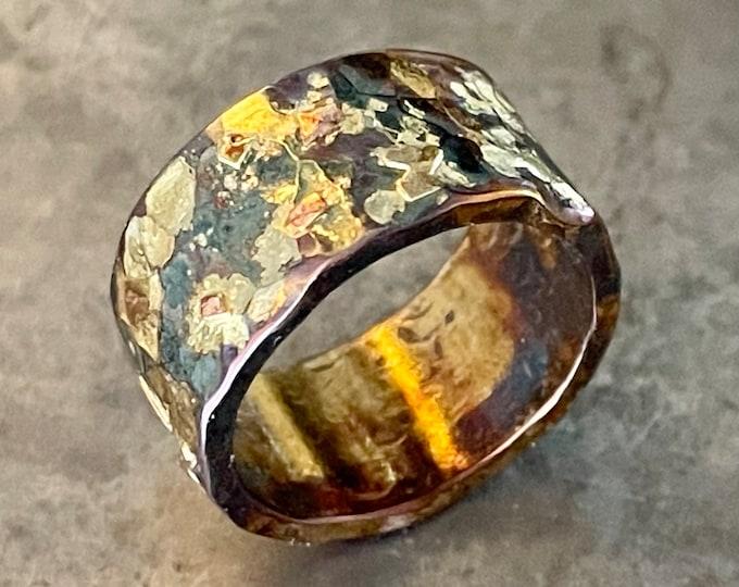 Mens Wedding Band 10mm Sterling Silver 14K 18K 22K Yellow Gold