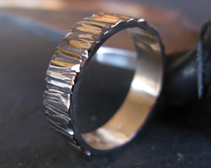Bark Textured Ring 6mm 14K Yellow Gold
