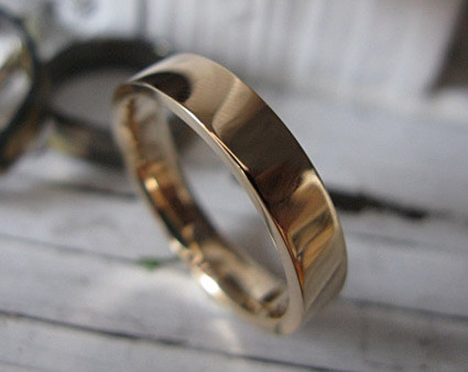 Sold Gold Ring Thick 14K Yellow Gold Custom Wedding Band 5mm Comfort Fit Polished Finish Mens Ring Man Ring