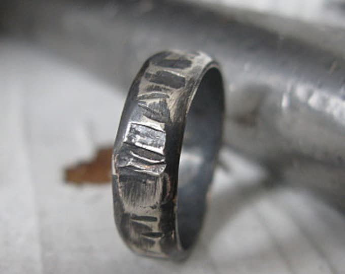 Hammered Viking Ring 5mm Oxidized Sterling Silver Mens Wedding Band