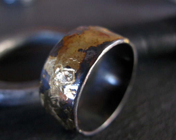 Black Gold Domed Ring 9mm Oxidized Sterling Silver Yellow Gold