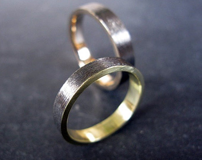 Brushed Gold Band 4mm 18K Green Gold with Black Rhodium