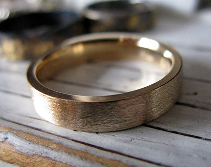Solid Gold Ring 14K Yellow Gold Custom Wedding Band 5mm Brushed Finish Comfort Fit Mens Ring
