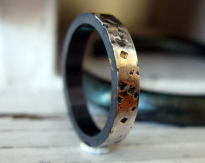 Starry Night Ring 4mm Sterling Silver 18K Yellow Gold Black Oxidation