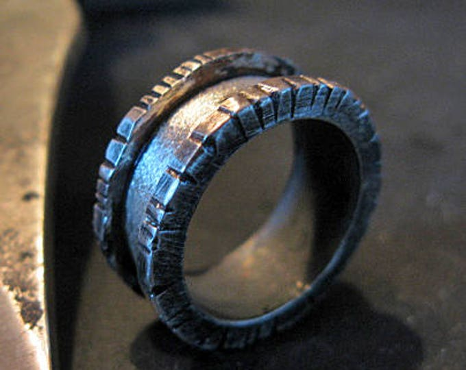 Rugged Rimmed Ring 9mm Oxidized Sterling Silver Wedding Ring