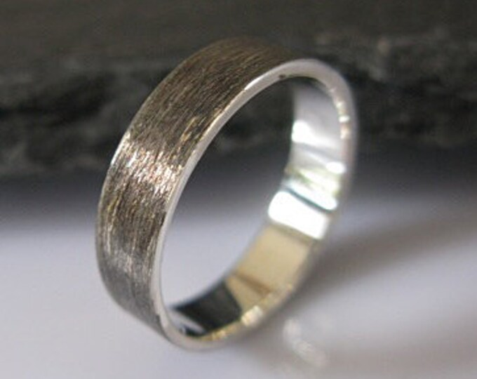 Brushed Silver Mens Wedding Ring 5mm