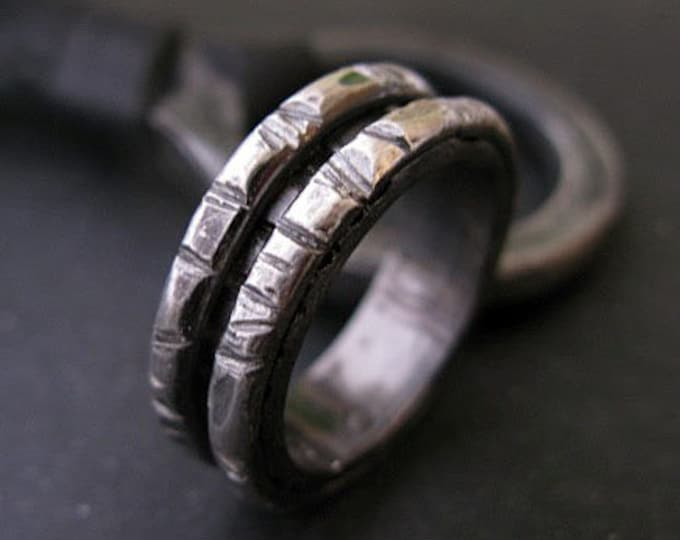 Heavy Rugged Silver Ring 8mm Black Rhodium Plated Sterling Silver Wedding Ring