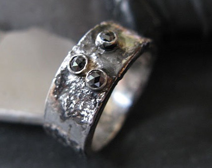 Molten Silver Ring 8mm Black Diamond Black Rhodium Plated Fine Silver