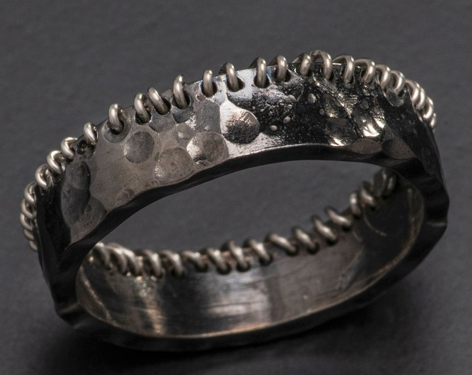 Stitched Edge Sterling Silver Ring Hammered 6mm