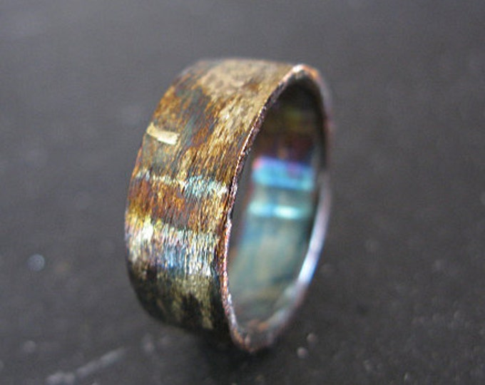 Brushed Mens Wedding Band 8mm Oxidized Sterling Silver Yellow Gold