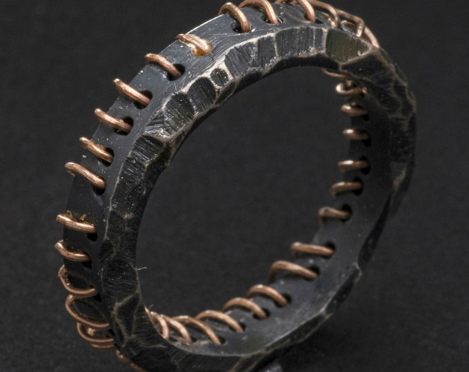 Rustic Ring with 18K Gold Stitching 4.5mm