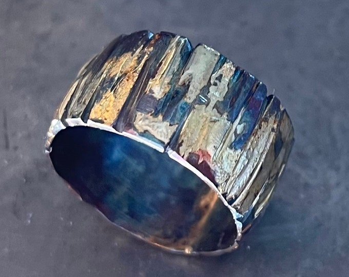 Yellow Gold White Gold Sterling Silver Mixed Metal Ring Custom Wedding Band 12mm Bark Texture Mens Ring Oxidized Silver