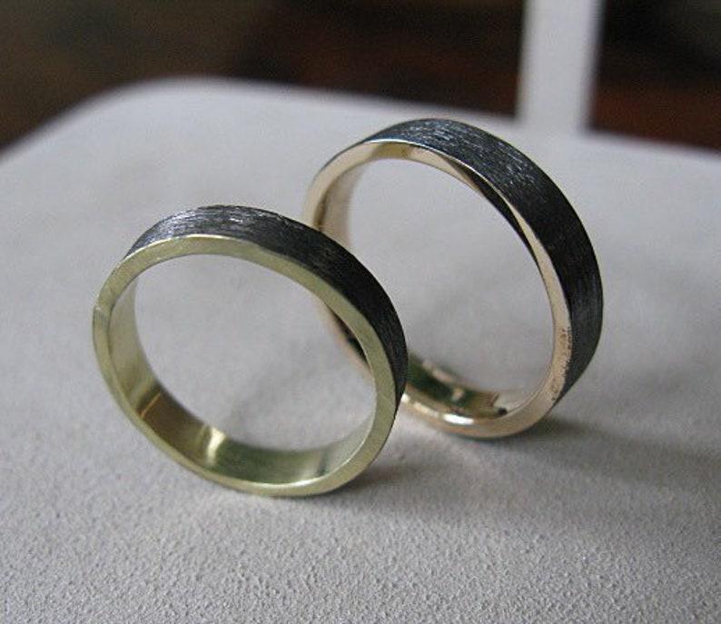 497149556c421 Brushed Gold Band Mens Wedding Band 18K Green Gold Ring 4mm Black Gold  Black Rhodium Plated Men's Wedding Band Gold Wedding Band Modern Clas