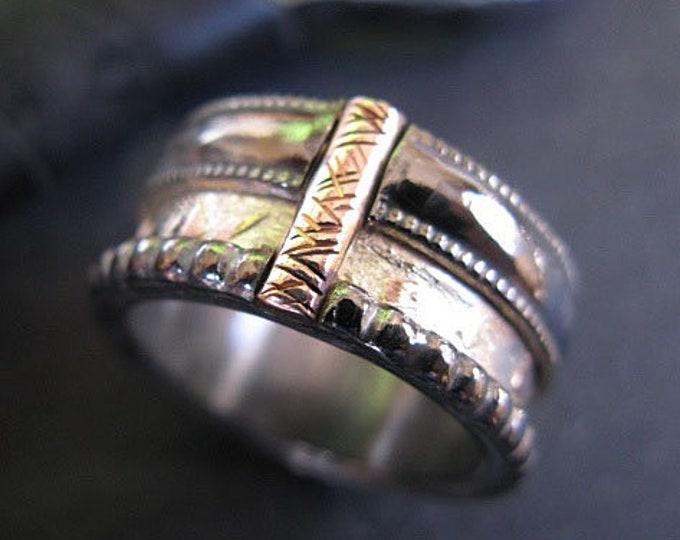 Viking Wedding Ring 11mm Sterling Silver Rose Gold