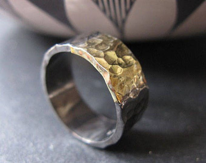 Mens Wedding Band 8mm Silver and Green Gold