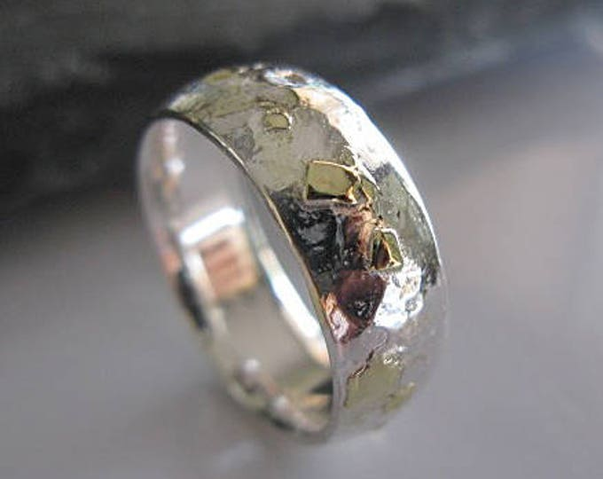 Vintage Wedding Band 8mm Sterling Silver Yellow Gold and Green Gold