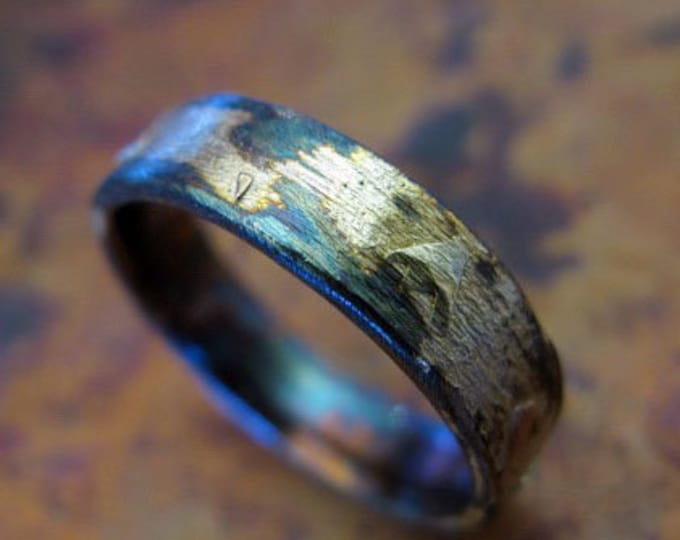 Brushed Black and Gold Ring 6mm Oxidized Sterling Silver 14K 18K 22K Yellow Gold