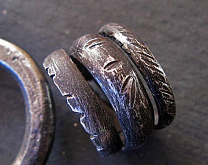Wraparound Ring 13mm Oxidized Fine Silver Wedding Ring