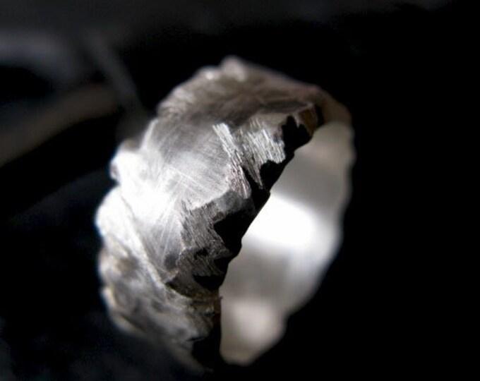Landslide Silver Ring 10mm Carved Mountain Edges
