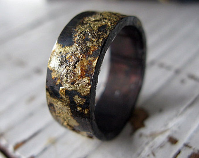 Scorched Earth Mens Wedding Band 9mm Oxidized Sterling Silver Rose GoldYellow Gold