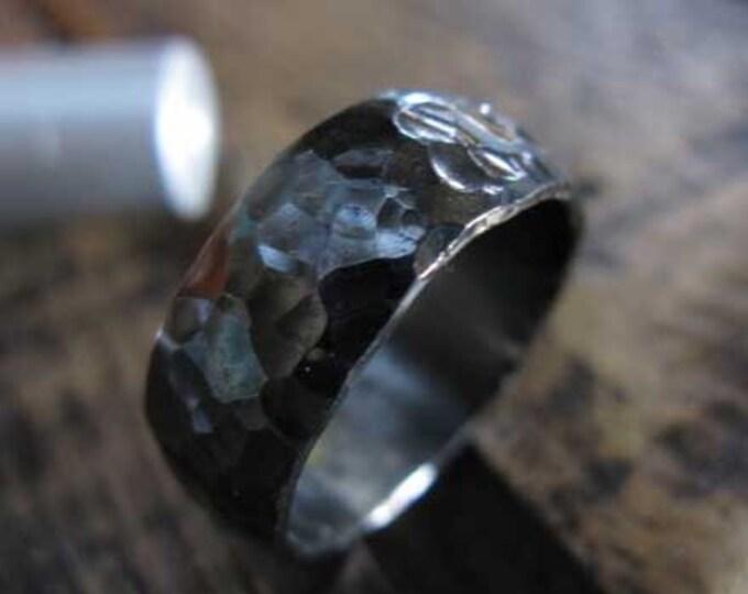 Black Wedding Band 7mm Sterling Silver Oxidized Mens Wedding Band