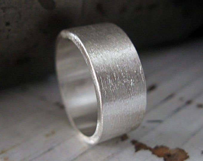 Brushed Sterling Silver 10mm Mens Wedding Band